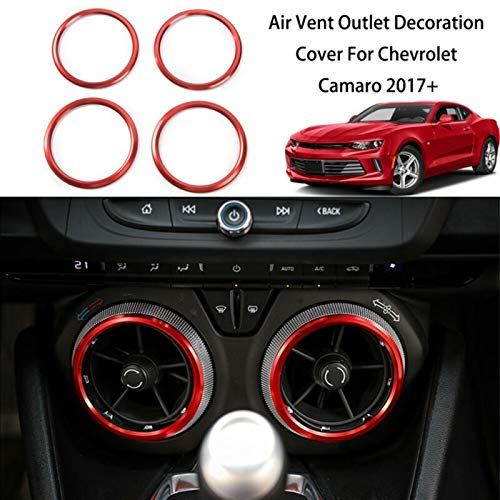 BXSAUISA Car interior decoration strip Car Styling 4pcs Front Vent Air Vent Outlet Trim Ring Decor Cover Fit For Chevrolet Camaro 2017 Interior Auto Accessories