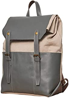 Men's Bag Canvas Crazy Horse Backpack Notebook Large Capacity Computer Adult Bag Fashion Casual Shopping Bag (Color : Light blue, Size : 30 * 42 * 16cm)
