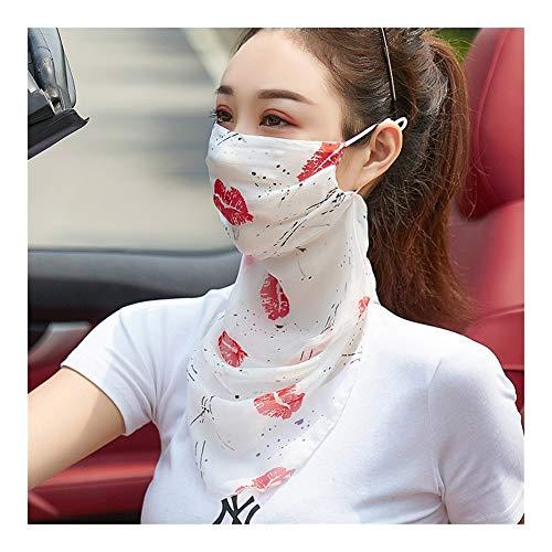 QXX Protector Solar de Seda protección del Cuello Integrado Velo Riding Transpirable sombreado Mantón Mujer (Color : A)