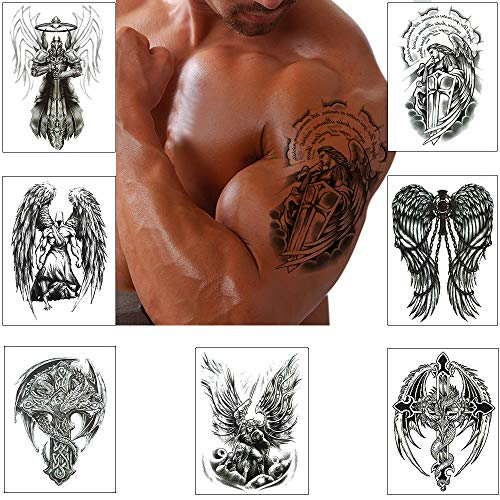 Temporary Tattoo Stickers for Men Cross Warrior Wing Back Chest Shoulders arm Body Art Large Removable Waterproof (Pattern 1)