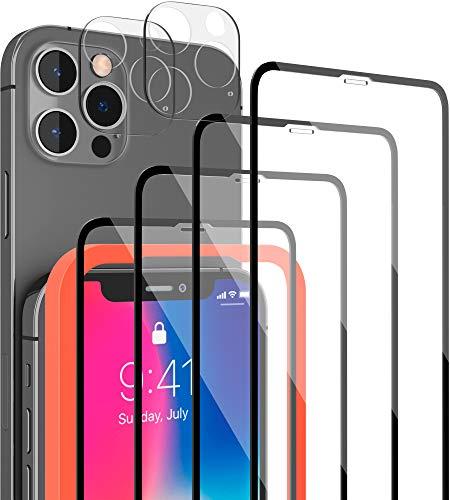 [6 Pack] 4 Stück LYMANO Panzer-Folie Glas Full Screen für iPhone 12 Pro Display-Schutzfolie Schutzglas Glass Protector Schutz Folie (6.1 Zoll) + 2 Stück Kameraschutz Kamera Linse Glas