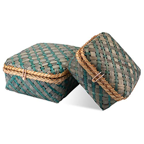 Decorasian Caja trenzada de bambú, baúl decorativo con tapa, color azul y verde, juego con tamaños M y L