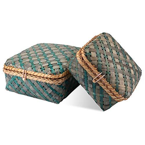 Decorasian Caja trenzada de bambú – Baúl decorativo con tapa azul verde Set M + L