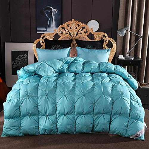 CHOU DAN Bounceback 10.5 Tog Duvet,Twisted Flower Down Quilt 95% White Goose Down Thickened Winter Quilt French Bread Twisted Flower-200 * 230cm 4000g_blue