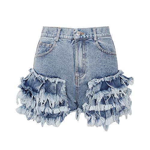 Pantalones Cortos de Mezclilla con Costura de Personalidad para Mujer, diseño de Tendencia a la Moda, Ropa de Calle, Pantalones Cortos Sexis con Borde en Bruto de Cintura Alta, Verano M