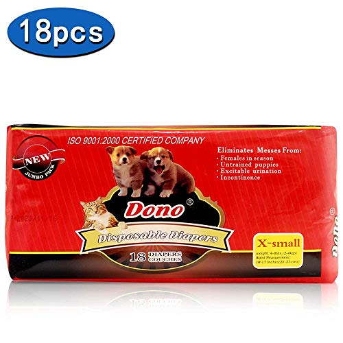 DONO Disposable Puppy Diapers for Female Dogs Including Absorbent Soft Heating and Pee Puppy Diapers Female Liners, Including 18pcs Diapers for Dogs and Cats