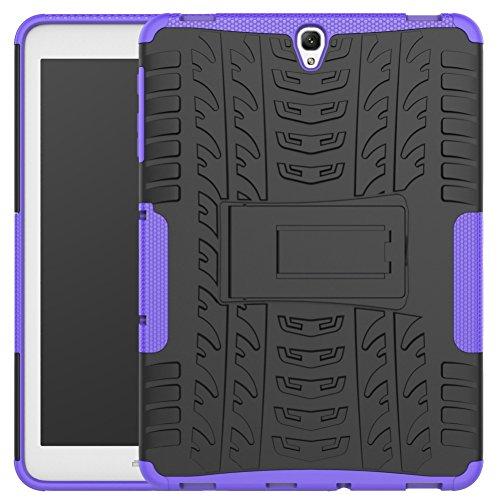 DWaybox Galaxy Tab S3 9.7 inch Heavy Duty Custodia Hybrid Rugged Armor Hard Back Cover Custodia with Kickstand per Samsung Galaxy Tab S3 9.7 inch 2017 SM-T820 / T825 (Purple)