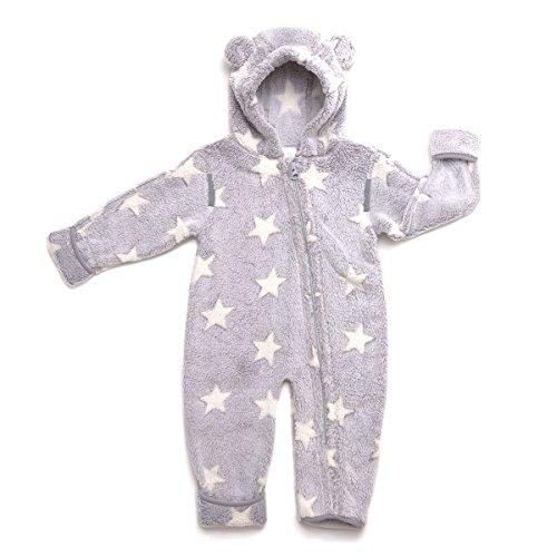 HOPPEDIZ Fleece-Overall für Baby und Kleinkind, grau-creme, 56-62