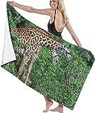 HRTSHRTE Beach Towels for Women Men Wild Giraffe Taste Tree Leaves Bath Towels Quick Dry...