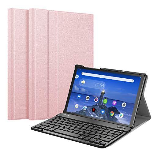 Fintie Tastatur Hülle für Lenovo Tab M10 FHD Plus (2nd Gen), Slim Schutzhülle mit magnetisch Abnehmbarer Deutsches QWERTZ Bluetooth Keyboard für Lenovo M10 Plus TB-X606 10.3 Zoll, Roségold