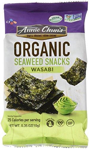 Annie Chun's Organic Seaweed, Wasabi, 0.35-oz (12 Count), Keto, Vegan, & Gluten-Free Snack