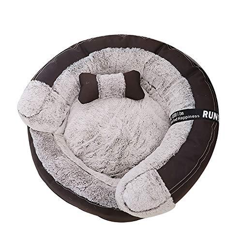SHPEHP Cama para Mascotas, Cama para Perros con Felpa mullida, Cama para Mascotas cálida Cama para Mascotas Cuddler Donut, Perros medianos y Grandes Transpirables-Brown-M