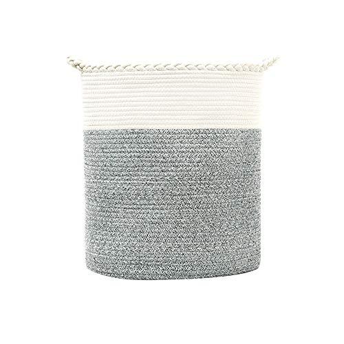 Cotton Coming Große Baumwolle Seil Korb, Wäschekorb Baumwollseilkorb Geflochtene Körbeil, zur Organisation von Wäsche, Decken Baby-Spielzeugen, Kinderzimmer(Color 03,40x48cm