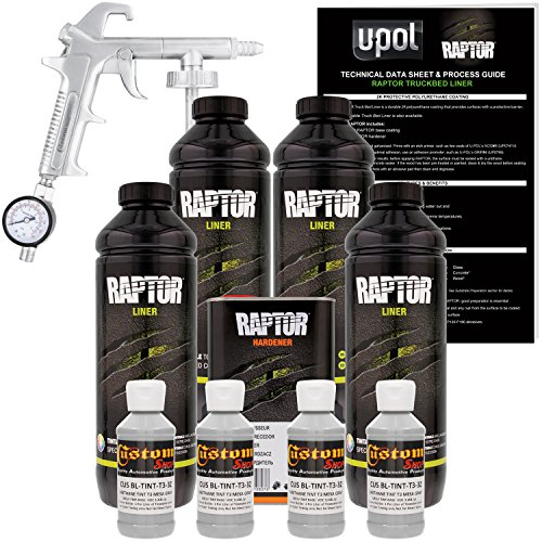 U-POL Raptor Mesa Gray Urethane Spray-On Truck Bed Liner Kit W/Free Spray Gun, 4 Liters