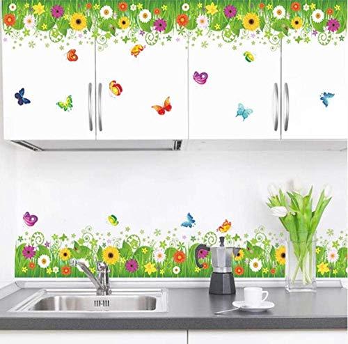 Bunte Blumen Schmetterlinge Zäune Fußleiste Wandaufkleber Schlafzimmer Kinderzimmer Wohnkultur Pvc Wandtattoos Diy Wandkunst Aufkleber Aufkleber