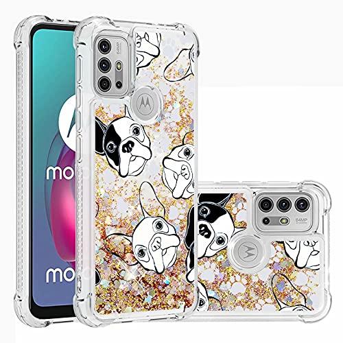 Ttimao Compatible con Funda Motorola Moto G30/G10 Flotante Glitter Brillante Liquid Quicksand...