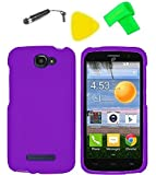 Phone Cover Case Cell Phone Accessory + Extreme Band + Stylus Pen + Yellow Pry Tool for Straight Talk Alcatel Pop Icon A564C (Purple)
