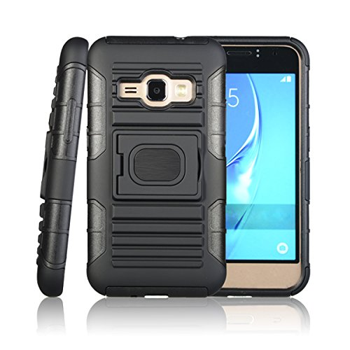 AMP-2/EXPRESS-3 BELT CLIP, CUSTOMERFIRST BLACK GRIP RING CASE COVER + BELT CLIP HOLSTER STAND FOR SAMSUNG GALAXY AMP-2, EXPRESS-3 (Black)