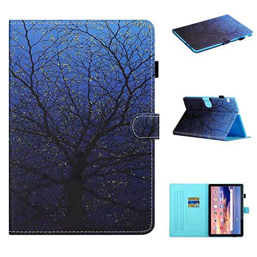 Miagon für Huawei MediaPad T5 10 10.1 Zoll 2018 Hülle,Schlank Fit PU Leder Folio Stand Brieftasche Cover Cute Muster Stoßfest Shell,Baum