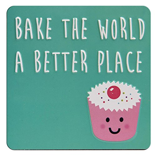 BAKE THE WORLD A BETTER PLACE Cupcake - High Quality Square Fun Koelkast Magneet
