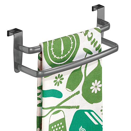 mDesign Tea-Towel Holder – Over Door Towel Rail with No Drilling Required – Kitchen Towel Holder – Ideal for Kitchens & Bathrooms – Graphite Grey