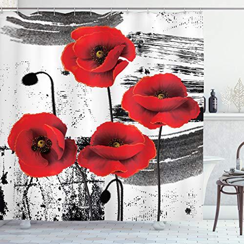 ABAKUHAUS Mohn Duschvorhang, Grunge Pinsel Blumen, Personenspezifisch Druck inkl.12 Haken Farbfest Dekorative mit Klaren Farben, 175 x 180 cm, Vermilion grau hellgrau weiß