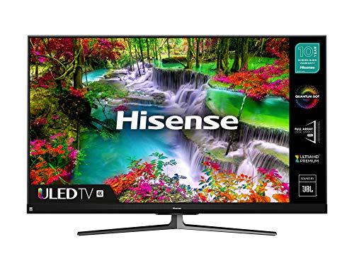 HISENSE 55U8QFTUK Quantum Series 1000 nit 55 Zoll 4K UHD HDR Smart TV mit Freeview Play und Alexa eingebaut (2020 Serie), Silber
