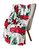 Christmas Holiday Throw Blanket: Country Rustic Red Truck with Tree Design with Reindeer Window Gel Cling Accessory (Style 1)