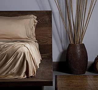SHEEX Ecosheex Bamboo Origin Sheet Set with 1 Pillowcase, Luxury Sateen Sheets, Honey, Twin