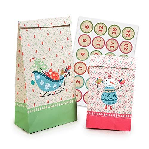 pajoma Adventskalender Christmas, 1 x 24 Tüten zum Befüllen, inkl. Zahlensticker, Weihnachten