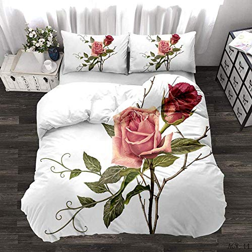 Nologo Cover Sets Super King Size Bedding,3D Print Rose Butterfly Bedding Complete Set Duvet Cover Pillow Cases Suitable for children's rooms, bedrooms, Apartment bedding sets@(200 * 200cm) 3pcs_D
