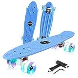 HUABEIGM Skateboards for Beginners, 22-inch Complete Skateboard with LED Luminous Wheels, Highly Flexible Mini Plastic Cruiser Skateboard (Blue)…
