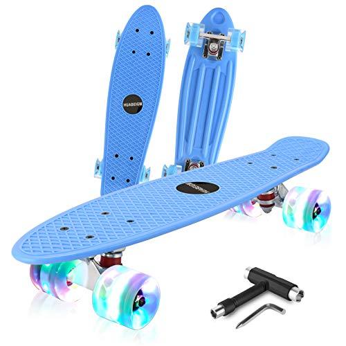 HUABEIGM Skateboards for Beginners 22inch Complete Skateboard with LED Luminous Wheels Highly Flexible Mini Plastic Cruiser Skateboard Blue…