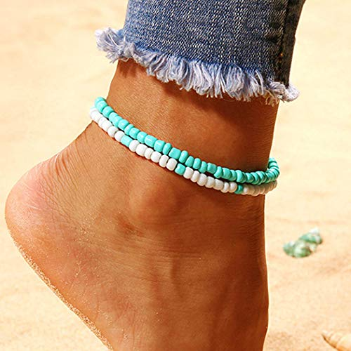 Handcess Boho Double Layered Anklet Turquoise Ankle Bracelets Beach Beaded Foot Chain Jewelry for Women and Girls