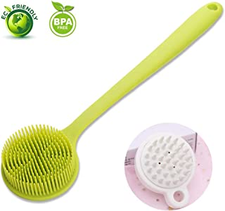 Silicone Shower Brush, Totech Bath Body Back Scrubber with Long Handle (Bonus Scalp Massager + Bathroom Hooks) Baggies for Dry Skin, Cellulite Remover, Men and Womens (Green)