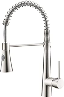 Fapully Contemporary Kitchen Sink Faucet,Single Handle Brushed Nickel Pull Down Kitchen Faucet with Sprayer