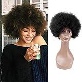 Queentas 8'Natural Negro Corto rizado Rizado Cabello humano Afro pelucas para mujeres negras (rizos esponjosos)