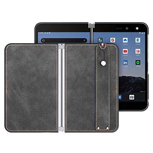 Foluu Für Microsoft Surface Duo Hülle, Surface Duo Lederhülle, [Slim und Leicht] PU Leder Back Cover Hard PC Halter mit Handschlaufe Schutzhülle für Microsoft Surface Duo (Schwarz)