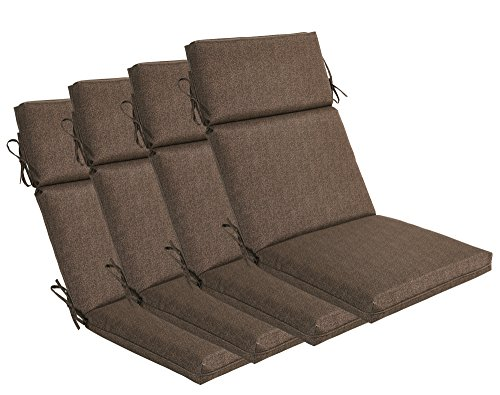 BOSSIMA Indoor Outdoor High Back Chair Cushions Replacement Patio Chair Seat Cushions Set of 4 Brown