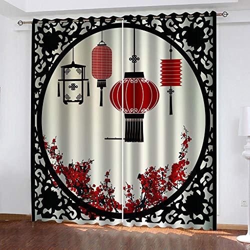 NWDDDEM Cortina 3D De Dormitorio - Linterna Roja,Adecuado para Dormitorio Sala De Estar Habitación Infantil Cortinas Opacas 2 Paneles - 160(W) X130(H) Cm