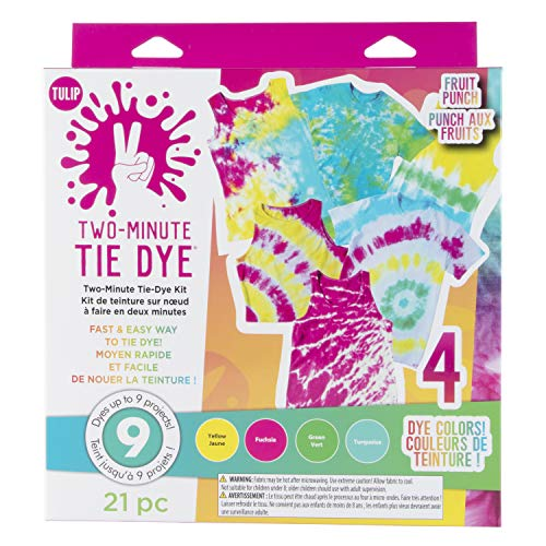 Tulip One-Step Tie-Dye Kit Includes Microwavable Containers & Techniques, 4 Vibrant Colors, Tropical Fruit Punch