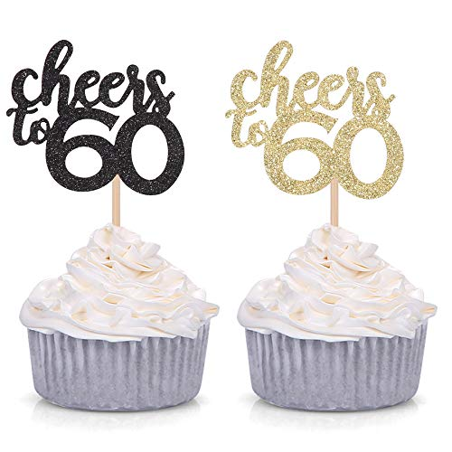 Black and Gold Glitter Cheers to 60 Cupcake Toppers 60th Birthday Celebrating Party Decorations - 24 Pack