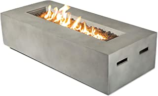 Century Modern Outdoor Fire Pit for Outdoor Home Garden Backyard Fireplace | Propane Operated Low Height Modern Fireplace Outdoor Furniture [CM-1023C] (Natural Concrete Finish)