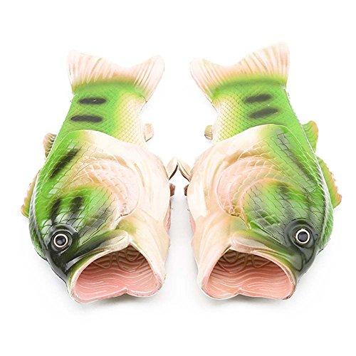 Mengxx Unisex Lustige Tier Hausschuhe Strand Fisch Sandalen Bad Hausschuhe Strand Pool Schuhe Dusche Flip Flops Schuhe (46 EU, Green)