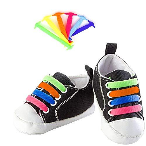 Goodplan Keine Krawatte Schnürsenkel Faule Flache Elastische Silikon Schnürsenkel Sport Schnürsenkel für Laufen und Training für Erwachsene Bunte 1 Paar