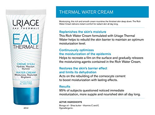 URIAGE Thermal Rich Water Cream 1.35 fl.oz.   Hydrating Shea Butter Moisturizer Face Cream for Dry to Very Dry Skin   Daily Moisture and Comfort for 24hr   Facial Care for Deep Hydration