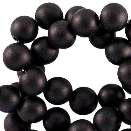 Sadingo Acrylperlen Schwarz, Kunststoffperlen matt, 100 Stück, 6 mm - Perlen Armbänder selber Machen - Schmuckperlen