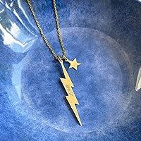 Collar de Rayo Vertical de Plata de Ley Personalizado con Estrella Dorada o Plateada