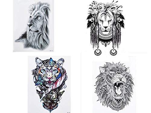 Löwen Tattoos - 4 Sheets temporäre Fake Tattoos - Lion4