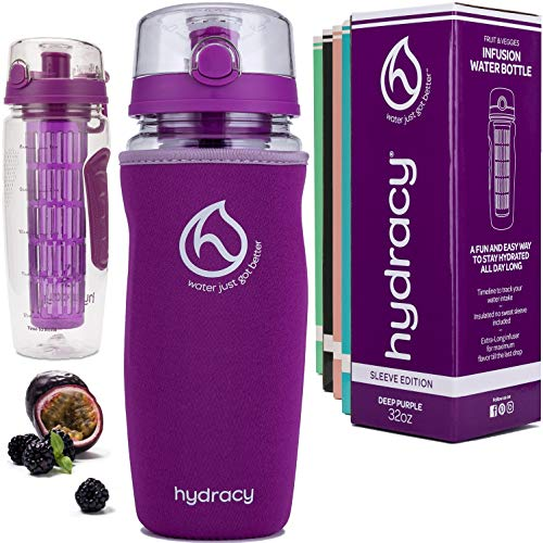 Hydracy Fruit Infuser Water Bottle - 1Litre Sport Bottle with Insulating Sleeve, Time Marker and Full Length Infusion Rod + 27 Fruit Infused Water Recipes eBook Gift - Deep Purple